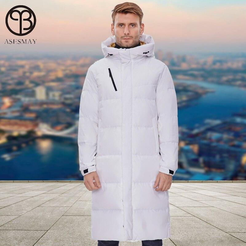 Asesmay, белая куртка-пуховик, мужские парки, длинное пальто с капюшоном, гусиное перо, wellensteyn, минус градусов, толстые, теплые, пуховики