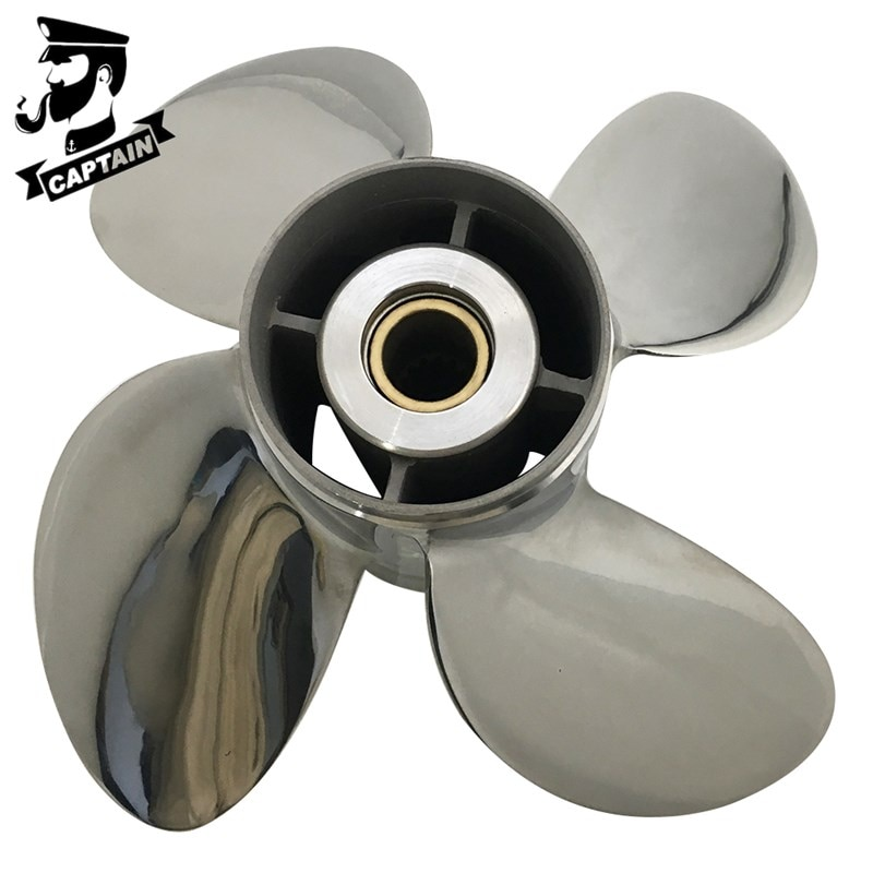 Captain Propeller 13x19 Fit Tohatsu Outboard Engines 60C 70HP 75HP 90HP 115HP 120HP Stainless Steel 15 Tooth Spline RH 4 Blades enlarge