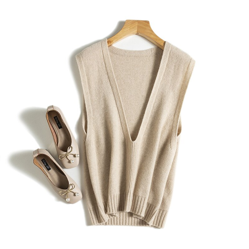 SHUCHAN Design Women Winter Sweater Clothes 96.3% Cashmere Sleeveless Vintage deep V-Neck  Sweater Vest Women  Solid New