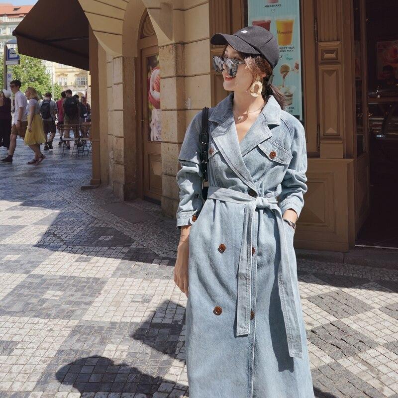 المرأة الدنيم خندق معطف جديد الربيع والخريف فضفاضة الدنيم معاطف سترة واقية جديد البرية طويلة خندق معطف الإناث NS1905