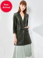 autumn winter new genuine leather coat womens long sleeve mid length oil sheepskin elegant coat windbreaker