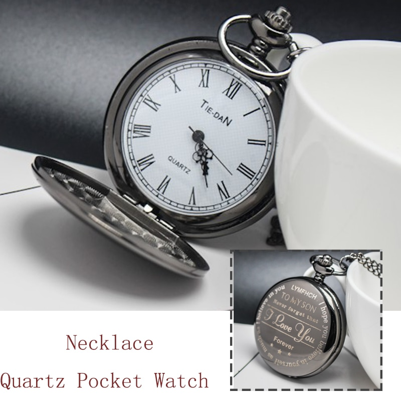 Black Vintage Bronze Quartz Pocket Watch Necklace Pendant Clock Chain Men Women Fob Watches Jewelry Accessory Gift hot monster anime cosplay pocket watch chain men boy cool quartz pendant watches necklace men ball hot game full hunter vintage