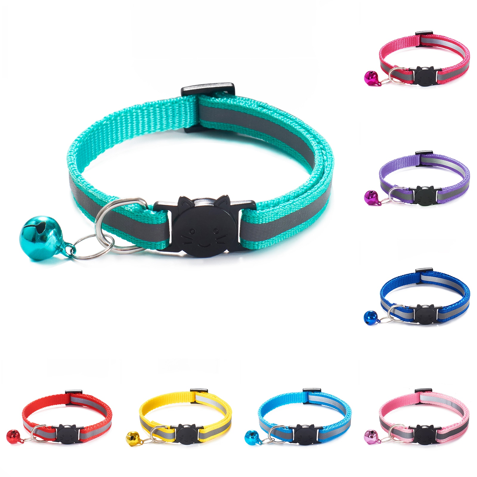 New Colors Reflective Breakaway Cat Collar Neck Ring Necklace Bell Pet Products Safety Elastic Adjustable With Soft Material 1PC colorful cute dog pet glossy reflective collar safety buckle bell strap 6 colors adjustable strap