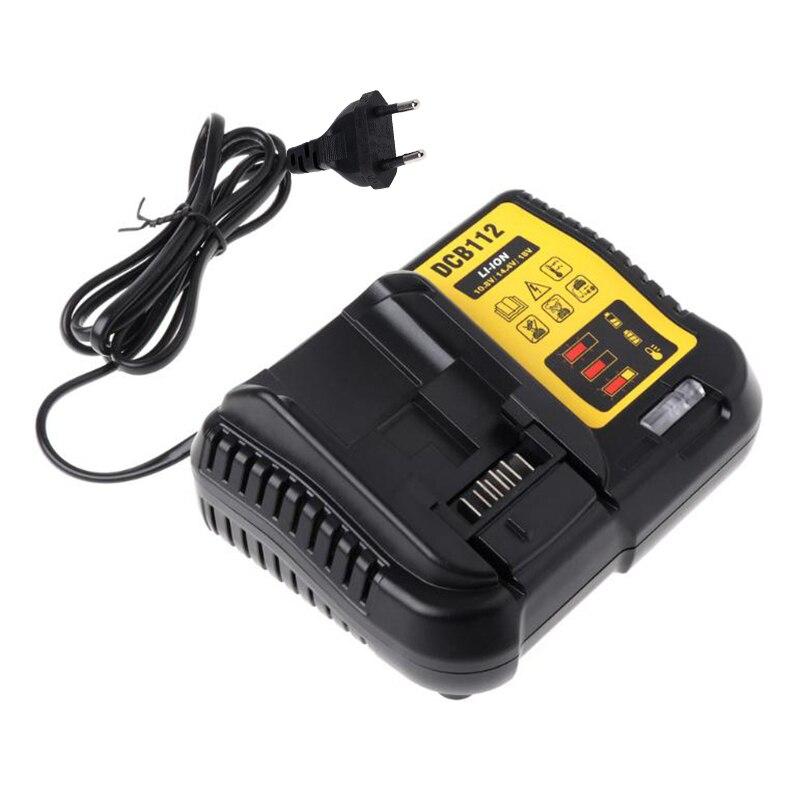 Gute Qualität DCB112 Li-Ion Batterie Ladegerät Für Dewalt 10,8 V 12V 14,4 V 18V Dcb101 Dcb200 Dcb140 Dcb105 dcb200 Eu Stecker Schwarz