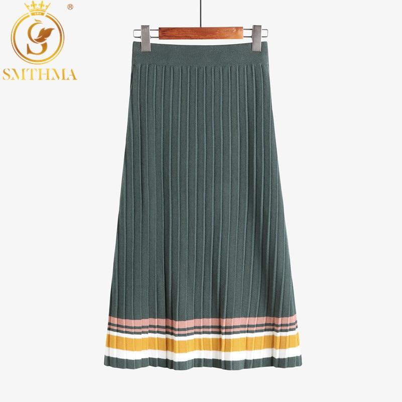 SMTHMA New fashion Womens Runway High Street Color Block Bodycon Knit Skirt High Waist  Ladies Autumn Winter Warm Skirts