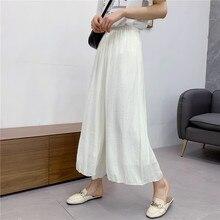 Femmes automne taille élastique large jambe pantalon taille haute dame couleur unie cheville longueur vintage froissé pantalon N328