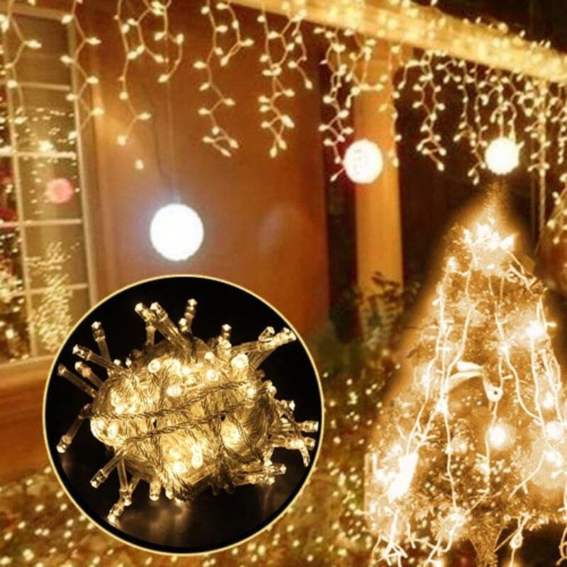 Светодиодные рождественские напольный декоративный светильник гирлянды светодиодные вечерние шторы строка светильник сада карнизы для о...