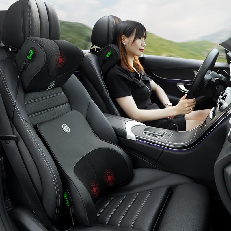 JINSERTA Car Massage Neck Support Pillow Seat Back Support Headrest Pillow Simulation Human Massage