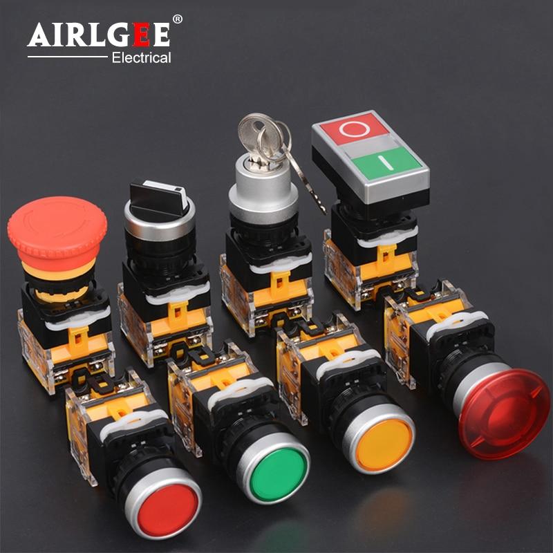 Interruptor de botón de LA38-22mm, interruptor de encendido automático de bloqueo automático, botón de encendido giratorio de parada de emergencia, botón de control de inicio de seta a prueba de agua