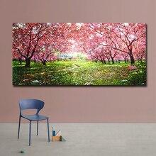 Esthétique cerisier fleurs mur Art paysage toile peinture affiches colorées et impressions photos pour salon décor à la maison