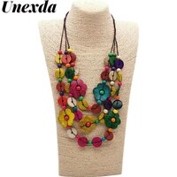 unexda bohemian necklaces color handmade wooden round flower shaped beaded choker for women layered long rope chain necklace
