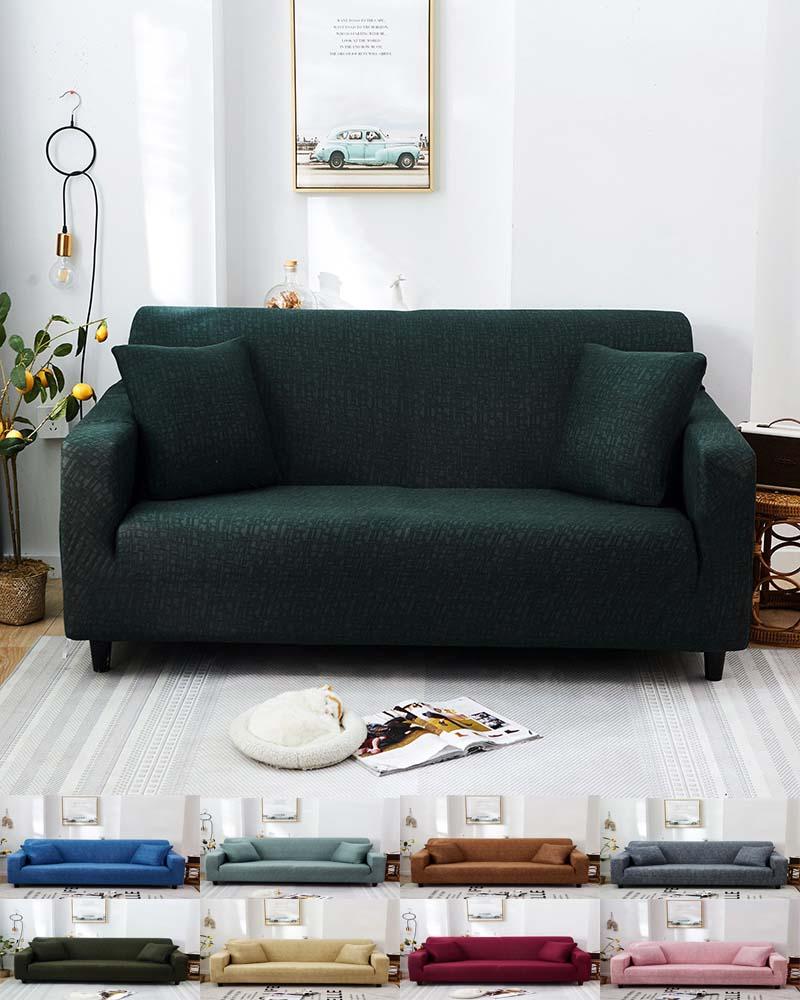 Capa de sofá à prova dwaterproof água cor sólida estiramento slipcover elástico capa para sala de estar 1/2/3/4 seater l forma poltrona capa
