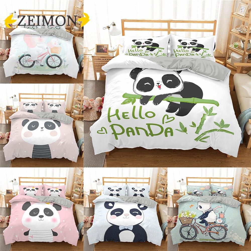 ZEIMON 2/3 قطع الباندا حاف مجموعة غطاء الفراش الكرتون الحيوان الاطفال الفتيان الفتيات غطاء لحاف الملكة قطرة الشحن
