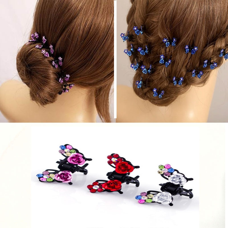 6PCS Rose Floral Small Hair Claw Hairpins For Women Girls Kids  Ornaments Crab Clips Hairgrip Accessories