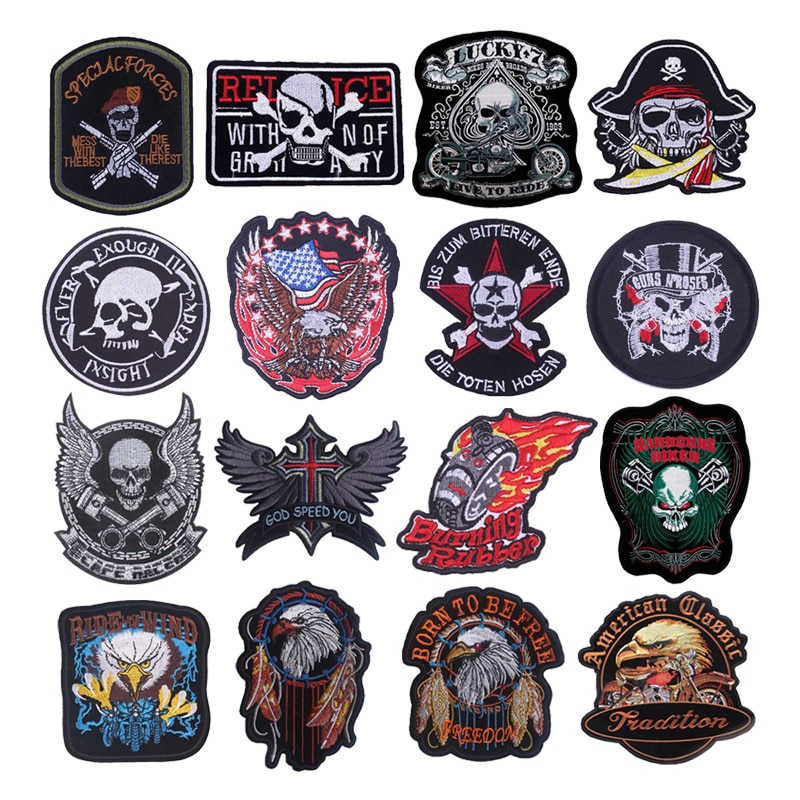 Punk Skull Eagle Iron On Patches On Clothes Stickers On Fabric Embroidery Patch DIY Sewing Stripes Decoration Stripes For Jeans