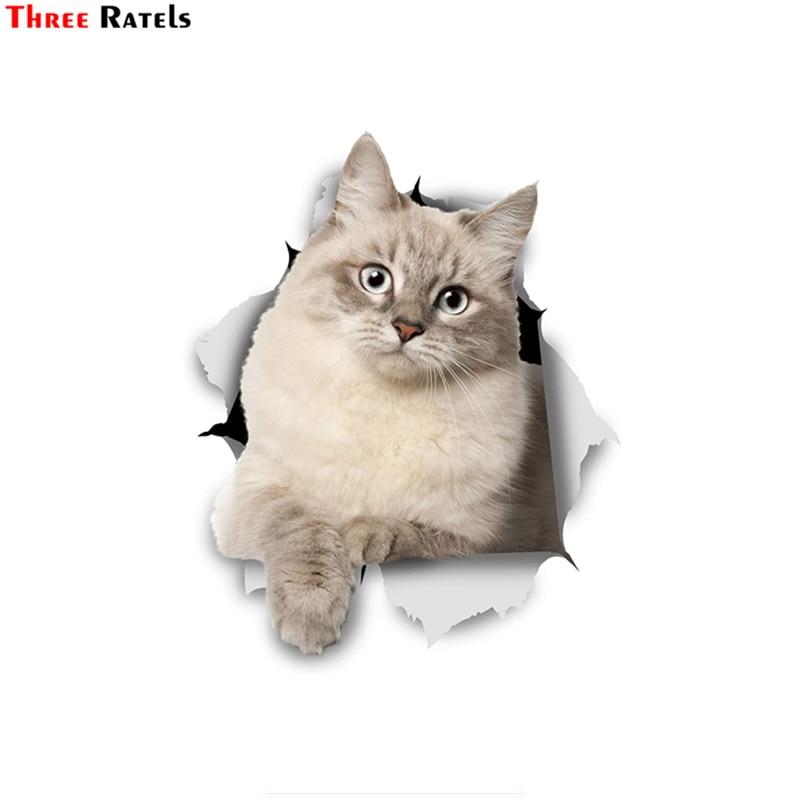 Three Ratels FTC-1048 3D pegatinas de gato siberiano pegatinas de gatito para la ventana del coche pared retrete frigorífico