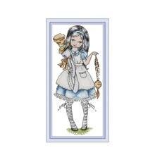 Alice cross stitch kit aida 14ct 11ct count print canvas cross stitches   needlework embroidery DIY handmade