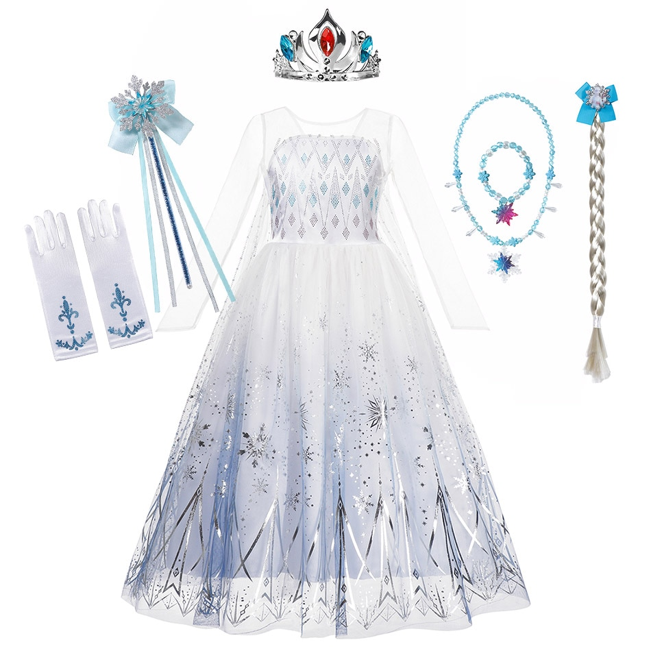 Snow Queen 2 Halloween Party Costume for Girls White Elsa Long Dress Princess Frozen 2 Vestido Disney Cosplay Carnival Clothing