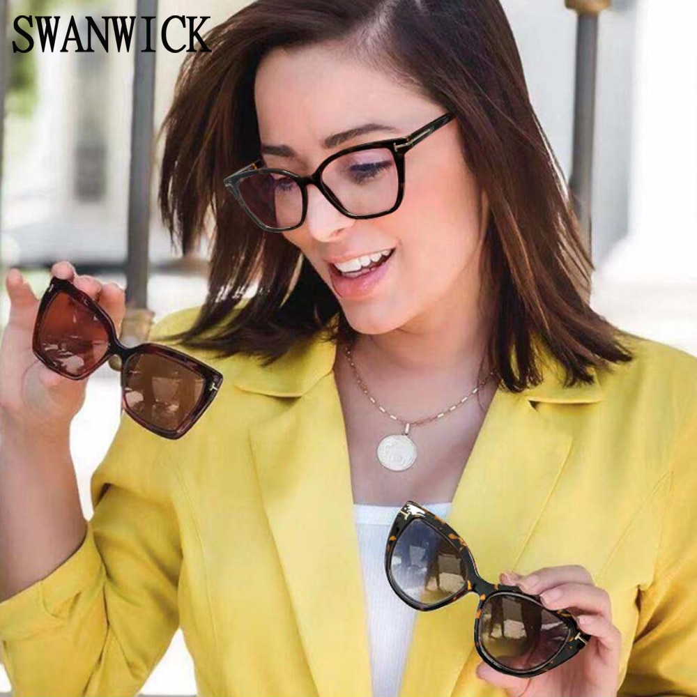 Swanwick cat eye glasses women polarized sunglasses TR90 magnetic clip one frame with two clips anti