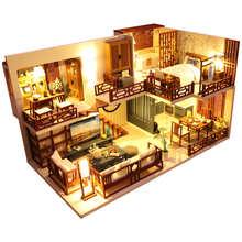 Домик кукольный Cutebee «сделай сам», деревянный миниатюрный, с комплектом мебели, игрушка для детей, подарок на Новый год и Рождество, M025