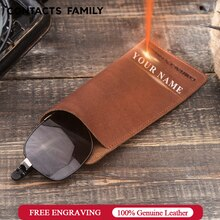 CONTACTS FAMILY housse de étui à lunettes en cuir véritable unisexe porte-lunettes de soleil boîte lunettes solide boîte de rangement pliable pochette sac