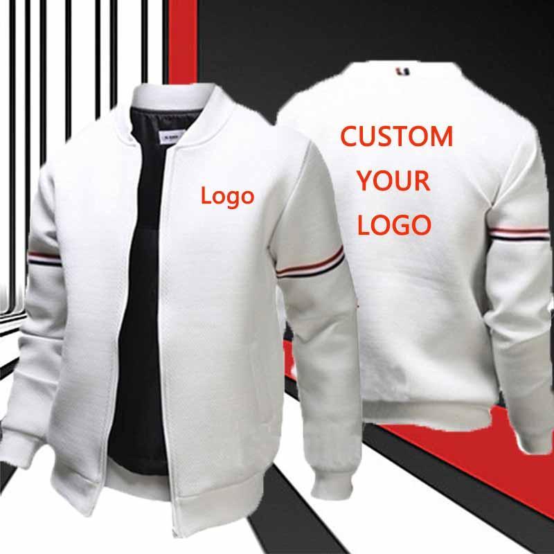 Мужская однотонная куртка с логотипом на заказ, осенняя приталенная повседневная спортивная уличная куртка на молнии с длинным рукавом, че...