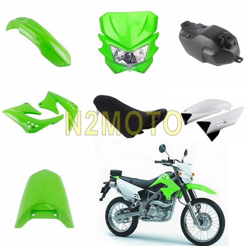 Kit de carenado de plástico de Motocross para Kawasaki KLX150 KLX150S 2009-2012 fuera de carretera asiento de la motocicleta cojín conjunto de tanque de aceite de gasolina