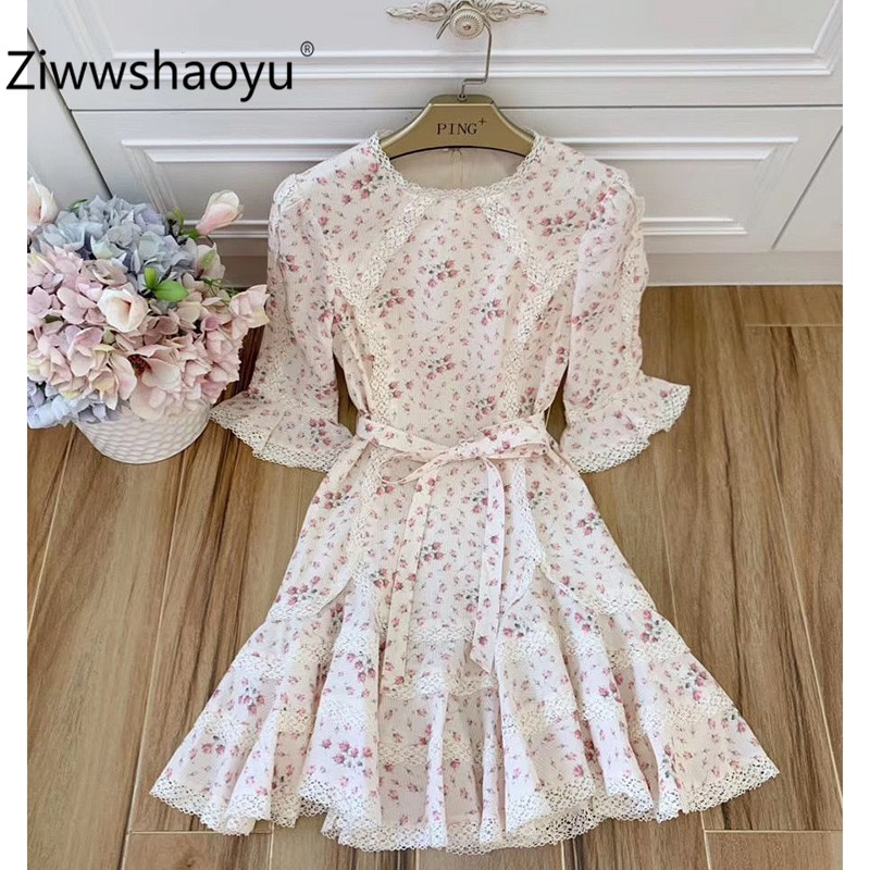 Ziwwshaoyu elegante flor impressão algodão primavera verão pista mini vestidos de roupas femininas de alta qualidade