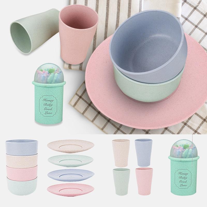 Tazón de paja de trigo ecológico, plato de taza, paquete individual, tenedor de fruta de regalo, vajilla, recipiente de plástico para arroz, tazón de cereal