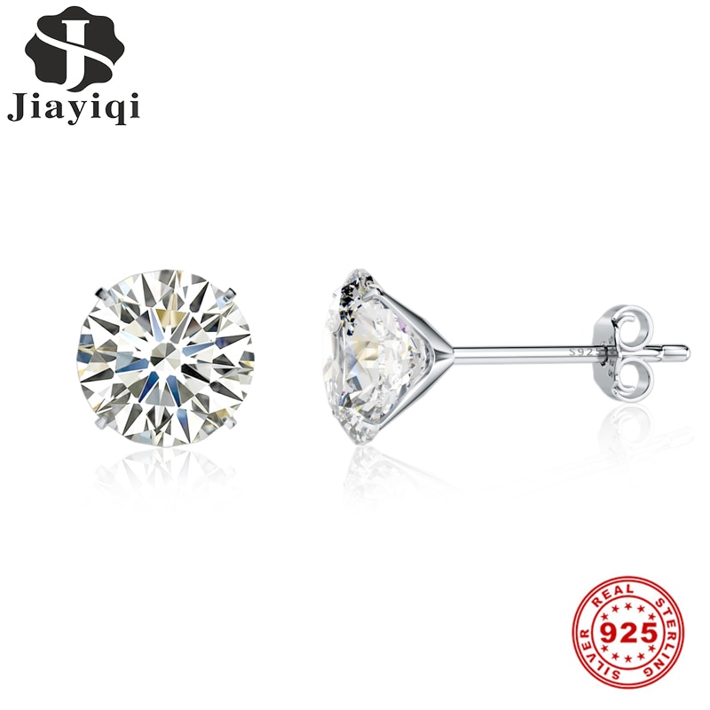 Jiayiqi Real 925 Sterling Silver Earrings 3-8mm Four Claws Crystal Zircon Stud For Women Jewelry