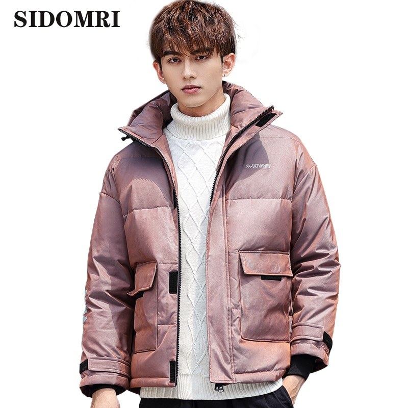 Winter men's down jacket high-quality fashionable cotton coat Hot style gloosy color short down jacket