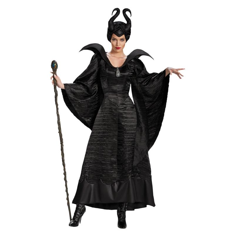 Snailify adulto Deluxe maléfica bautizo vestido negro disfraces de maléfica cuerno disfraz de Halloween para las mujeres negro casco