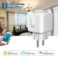 HoneyFly     commutateur intelligent WiFi 90-250V  alimentation 15a  prise ue  prise murale  telecommande  maison intelligente  fonctionne avec Dohome Homekit