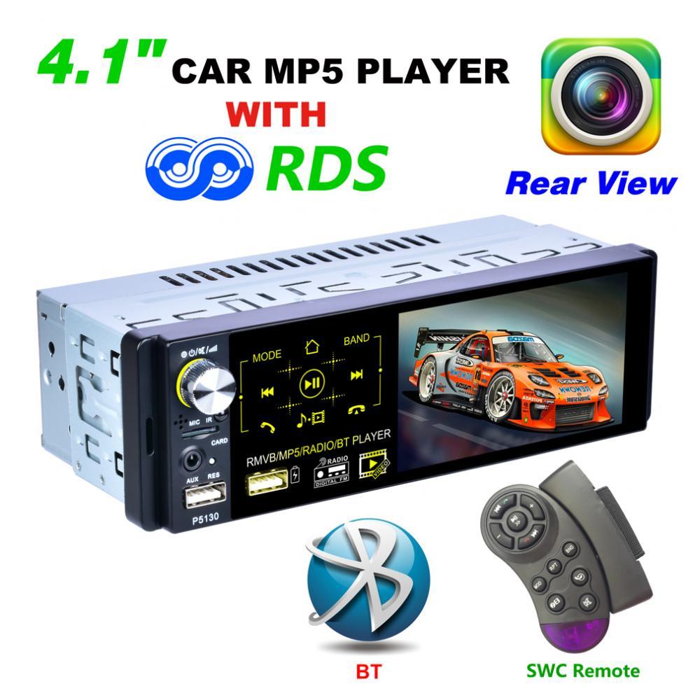 4,1 pulgadas 1Din Bluetooth pantalla táctil RDS coche Multimedia MP5 estéreo para coche reproductor de Radio soporte micófono y cámara de visión trasera