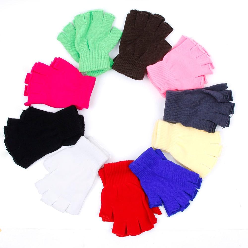 Winter Fingerless Gloves Mittens Solid Color Fingerless Half Fingers Warm Knitmagic Gloves Mittens U