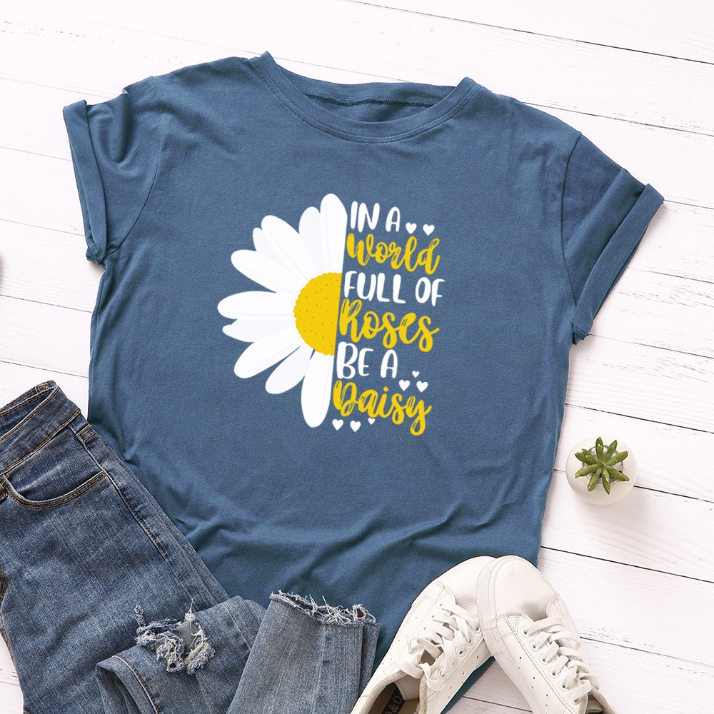 Grande taille Daisy imprimé graphique femmes t-shirts été coton t-shirt Harajuku femme T-Shirt décontracté hauts amples vêtements de rue