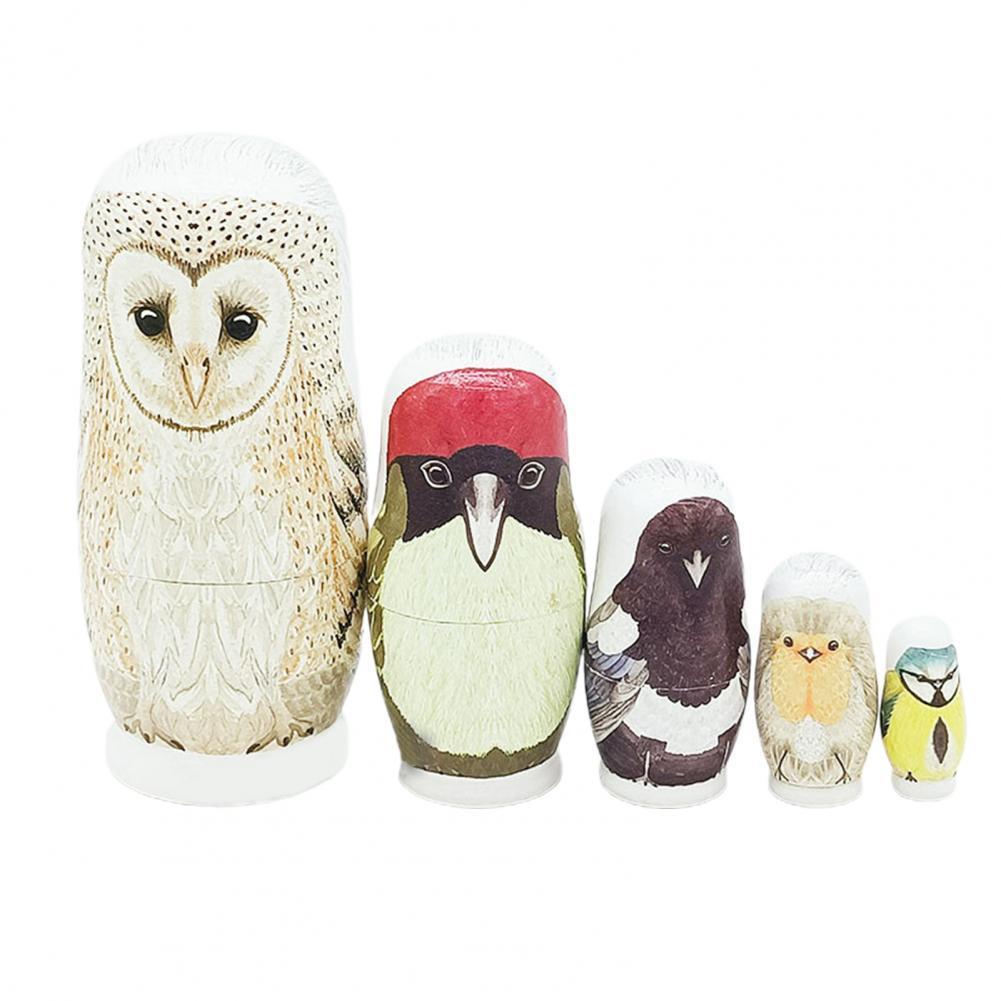 5 шт./компл. креативные пятислойные Мультяшные куклы-гнездики, домашнее украшение, деревянная пятислойная сова, Матрешка, украшение для кофе...