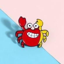 Sourire rouge et jaune épingles de crabe je vais vous attraper dessin animé animaux broches Badges sac à dos vêtements épingles gros bijoux cadeaux