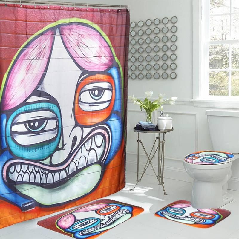 Funny Graffiti Shower Curtains Characte Pattern Non-slip Kitchen Carpet Toilet Pattern Carpet Bathroom Rug Floor Mat