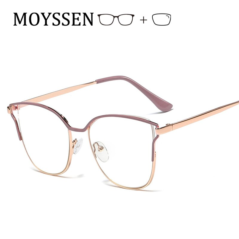 Elegantes gafas de Oreja de Gato para mujer, marco de aleación metálica con acabado óptico, gafas para miopía, gafas de prescripción para mujer-100 -150