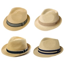 Comhats Summer Straw Fedoras Hat For Men Women Wide Brim Sun UV Protection Travel Vintage Ladies Bea
