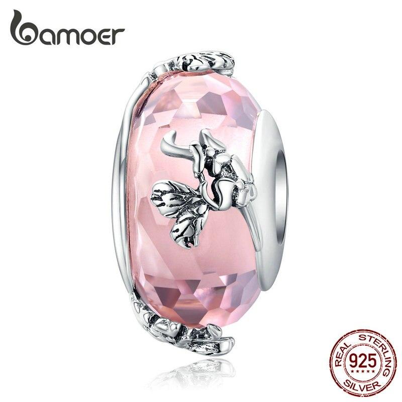 Bamoer mariposa Rosa cuentas de vidrio hechas a mano para mujeres Original pulsera de plata 925 joyería de plata Europea SCC1285