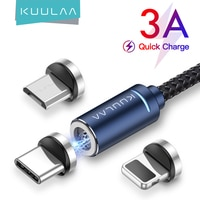 Магнитный кабель KUULAA USB Type-C Micro для iPhone 3A, шнур для быстрой зарядки, провод для передачи данных и светодиодной подсветки, Магнитный зарядный к...