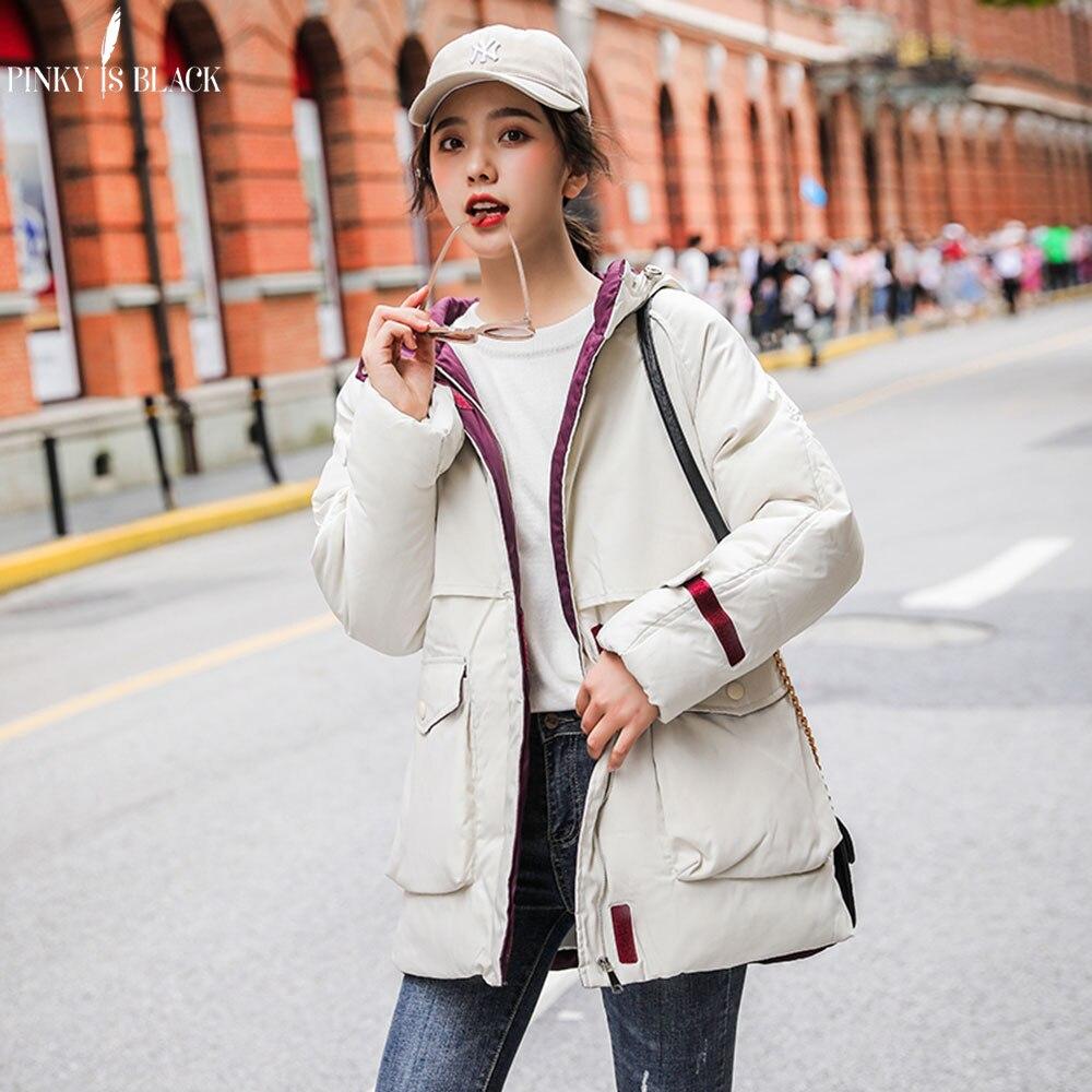 Зимняя одежда PinkyIsBlack, длинная парка, зимняя куртка, Женская ветрозащитная одежда с капюшоном в стиле милитари, женское Утепленное зимнее па...