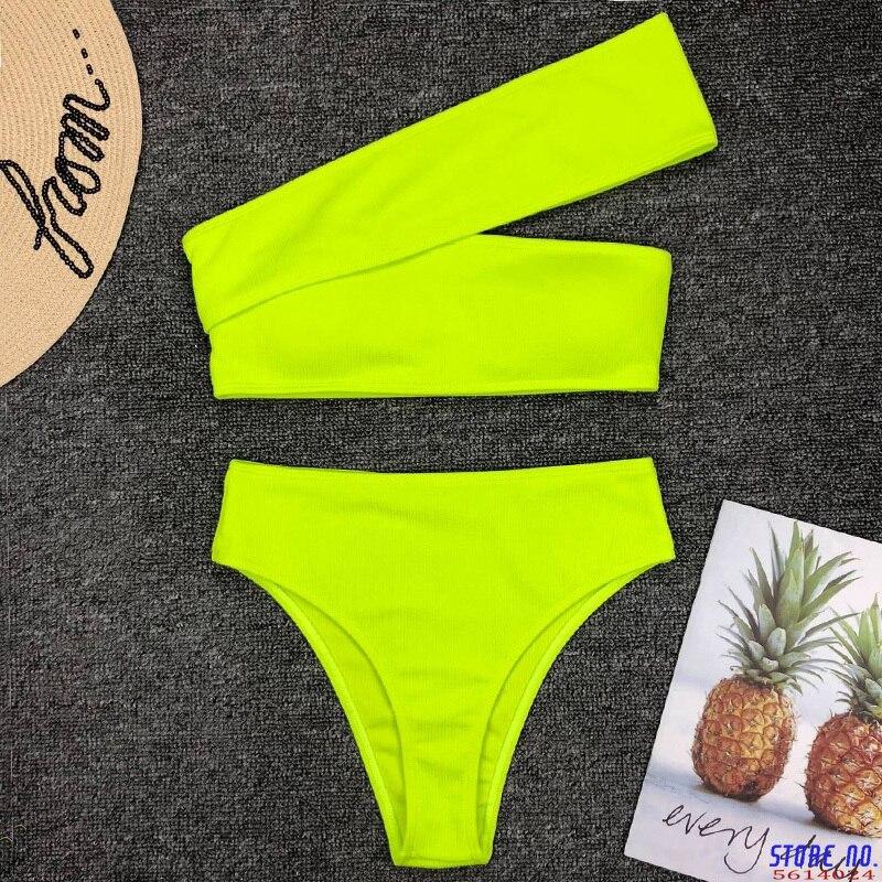 2020 Sexy neón verde alta cintura Bikini mujer acanalado traje de baño un hombro traje de baño femenino bikini conjunto brasileño traje de baño