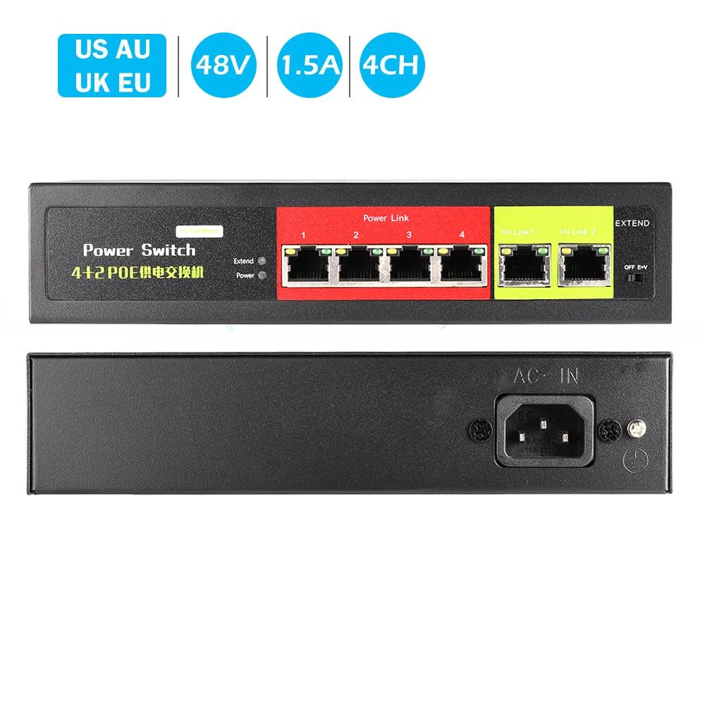 48V-52V 4CH Netzwerk POE schalter Ethernet 10/ 100Mbps Ports IEEE 802,3 af/at Geeignet für IP kamera/Wireless AP/CCTV kamera system
