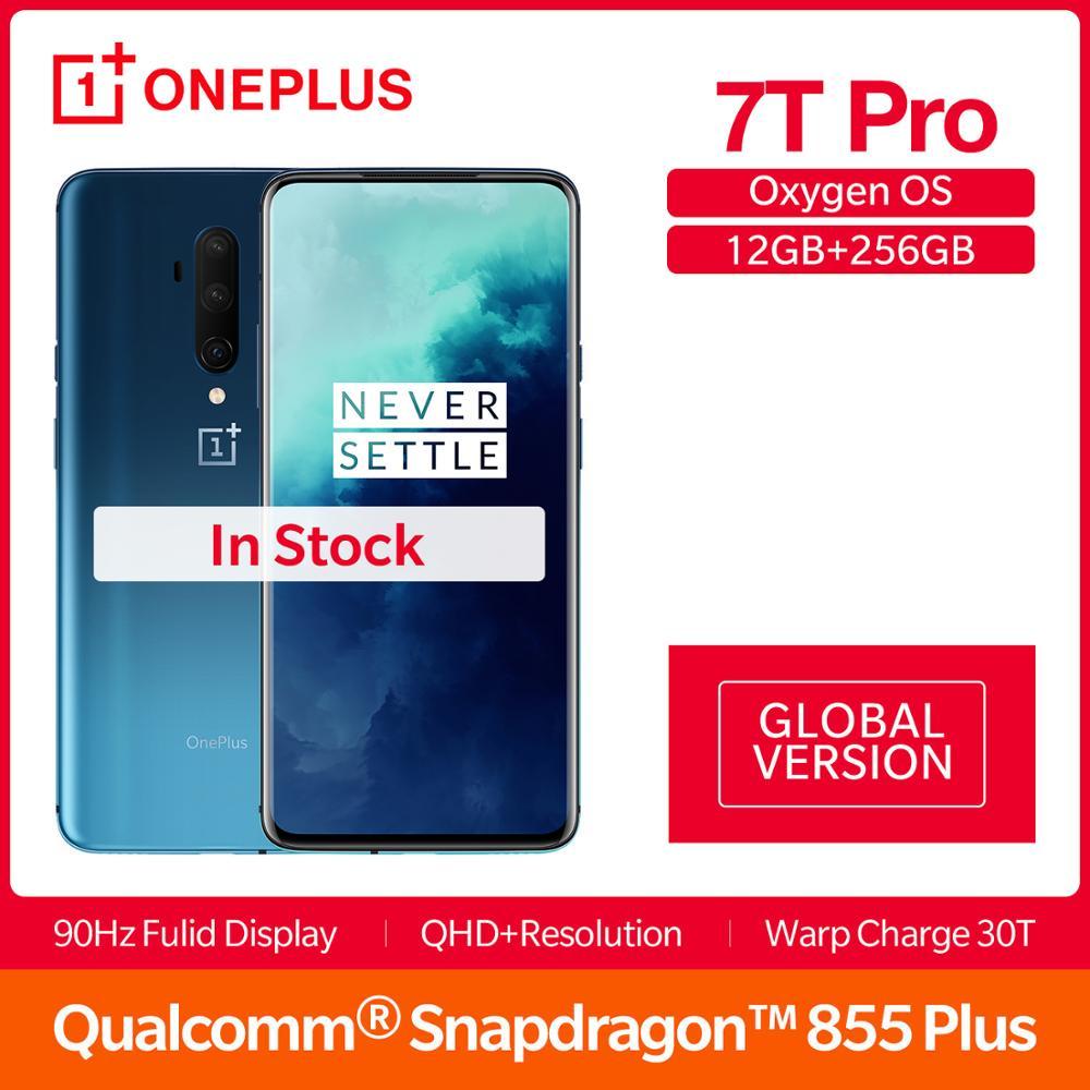 "Versión Global OnePlus 7T Pro 8GB 256GB Snapdragon 855Plus Smartphone 6,67 ""Fulid AMOLED 90Hz pantalla 4085mAh NFC UFS 3,0"