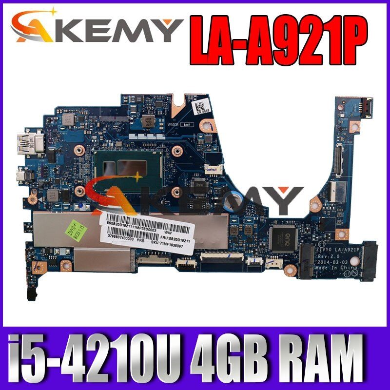 AKEMY لينوفو اليوغا 2 13 اللوحة المحمول FRU 5B20G19207 LA-A921P مع I5-4210U 1.70GHz وحدة المعالجة المركزية 4GB RAM الأصلي mothebroard