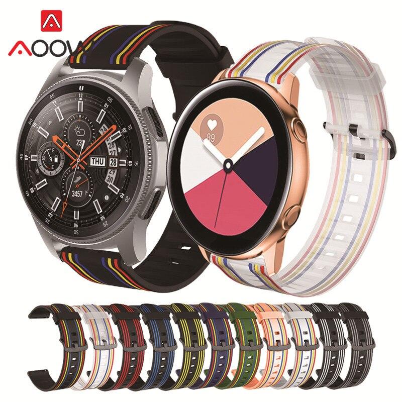 20 мм 22 мм силиконовый спортивный ремешок Радужный резиновый водонепроницаемый сменный ремешок для Samsung Galaxy Watch 46 мм S3 Active2 Amazfit GTS