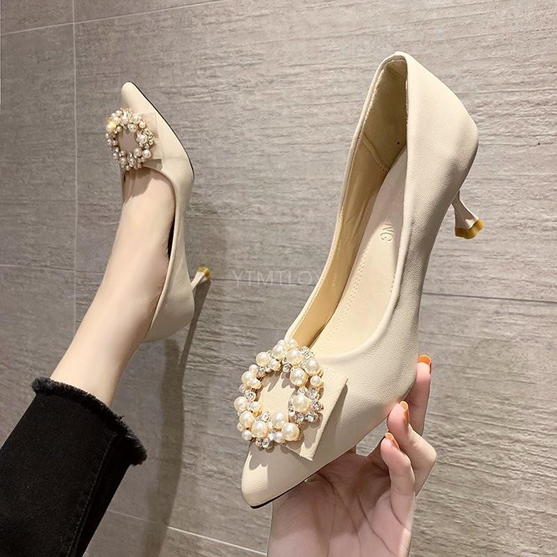 Zapatos De punta estrecha con perlas para Mujer, calzado De Slip-0n informal,...